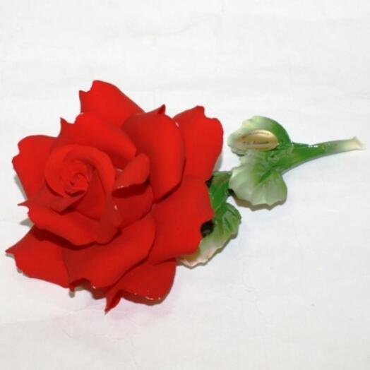"""Роза из фарфора """"Прикосновение нежности"""", малая"""