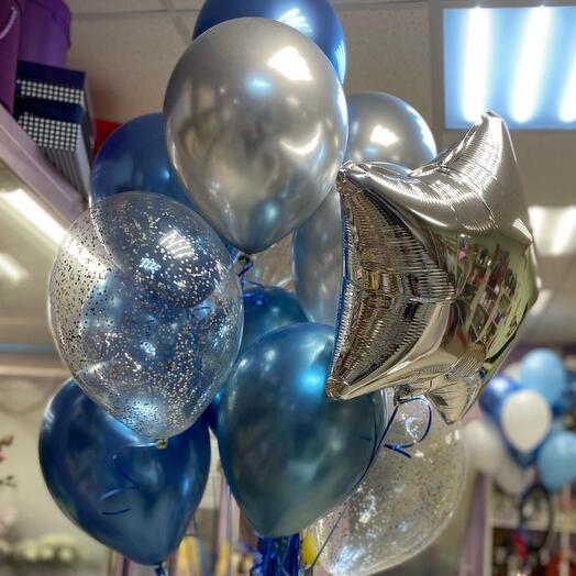 Фонтан из фольгированных звёзд 2 шт, 3-х хромированных шаров, 3-х латексных шаров с конфети и 7 латексных цветных шаров
