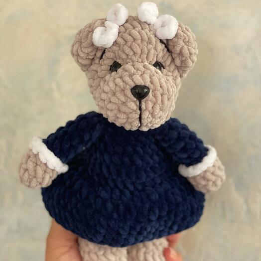 Мягкая игрушка первоклассница плюшевый мишка подарок на 1 сентября