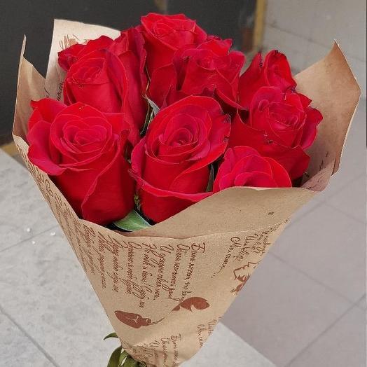Букет из 10 красных кенийская роза: букеты цветов на заказ Flowwow