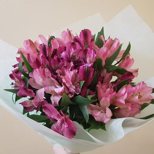 Букет из 9 розовых альстромерий: букеты цветов на заказ Flowwow