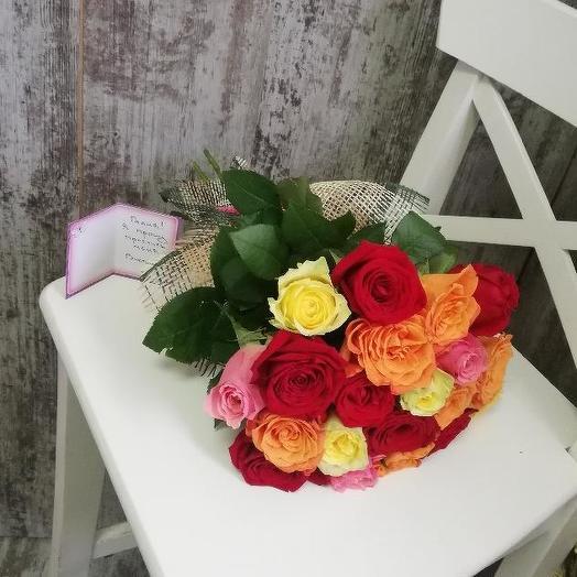 Букет из 15 разноцветных кенийская роза: букеты цветов на заказ Flowwow