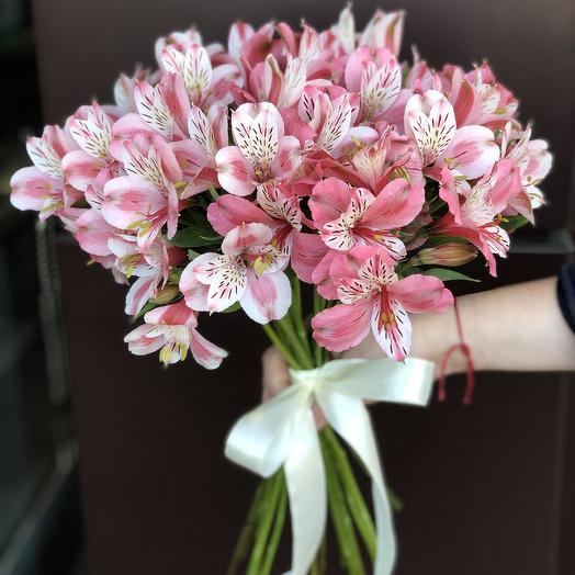 Букет из 13 розовых альстромерий: букеты цветов на заказ Flowwow