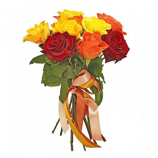 Букет из 10 разноцветных роз 50 см: букеты цветов на заказ Flowwow