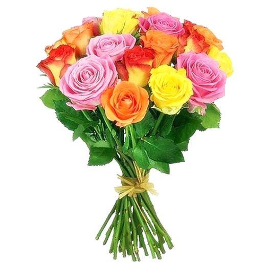 Букет из 15 разноцветных голландских роз 70 см: букеты цветов на заказ Flowwow