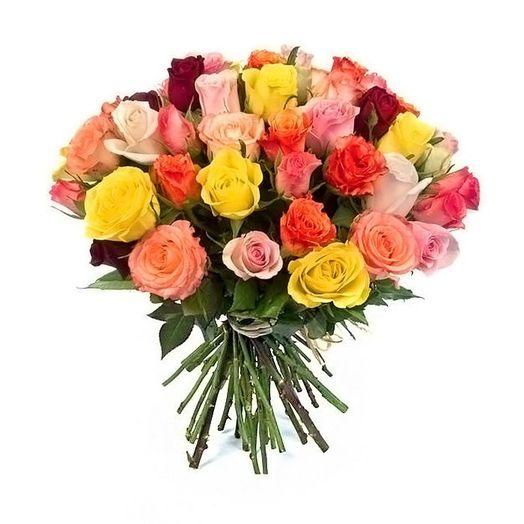 Букет из 25 разноцветных голландских роз 50 см: букеты цветов на заказ Flowwow
