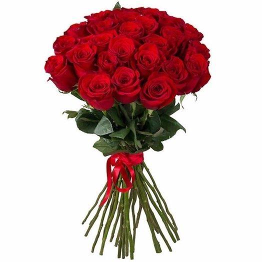 Букет из 25 красных голландских роз 60 см: букеты цветов на заказ Flowwow