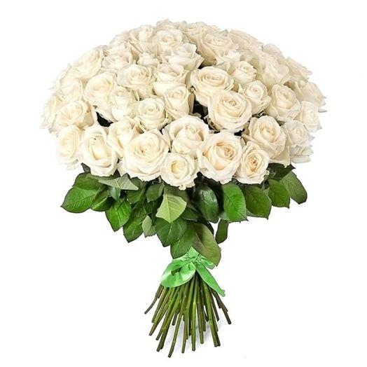 Букет из 51 белой голландской розы 50 см: букеты цветов на заказ Flowwow