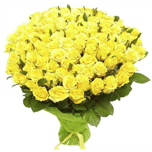 Букет из 151 желтой голландской розы 50 см: букеты цветов на заказ Flowwow