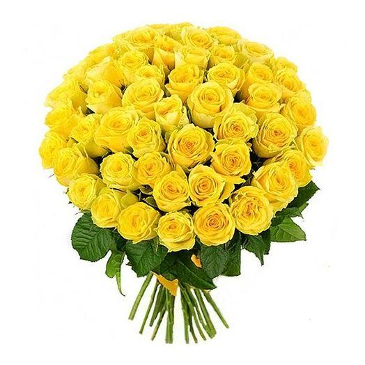 Букет из 55 желтых голландских роз 50 см: букеты цветов на заказ Flowwow