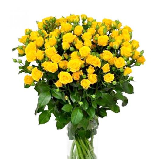 Букет из 15 желтых кустовых роз 60 см: букеты цветов на заказ Flowwow