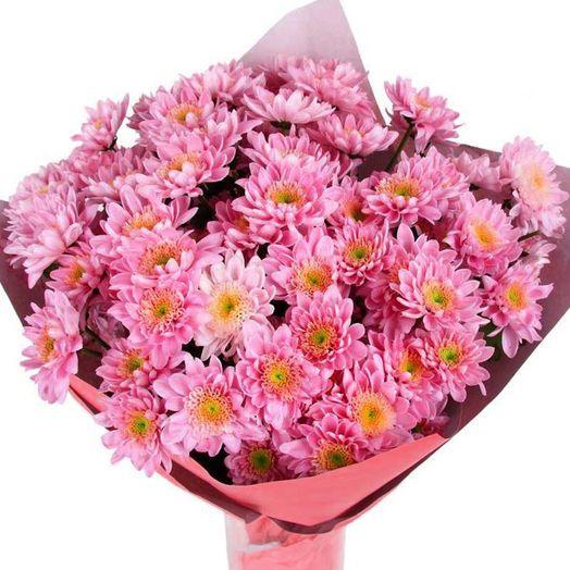 Букет из 35 розовых хризантем: букеты цветов на заказ Flowwow