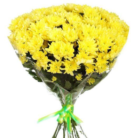 Яркий букет с желтой хризантемой и красными герберами с доставкой ... | 524x524