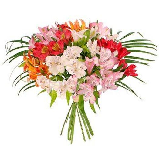 Букет из 10 разноцветных альстромерий: букеты цветов на заказ Flowwow