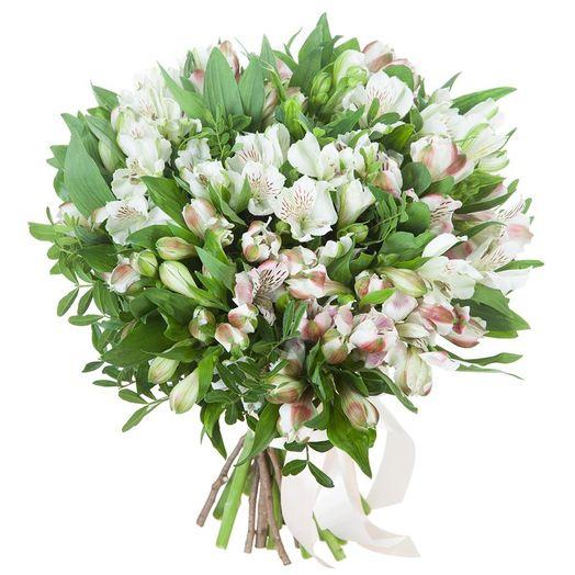 Букет из 15 белых альстромерий: букеты цветов на заказ Flowwow