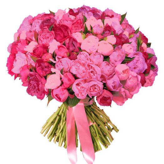Букет из 100 красных пионов: букеты цветов на заказ Flowwow