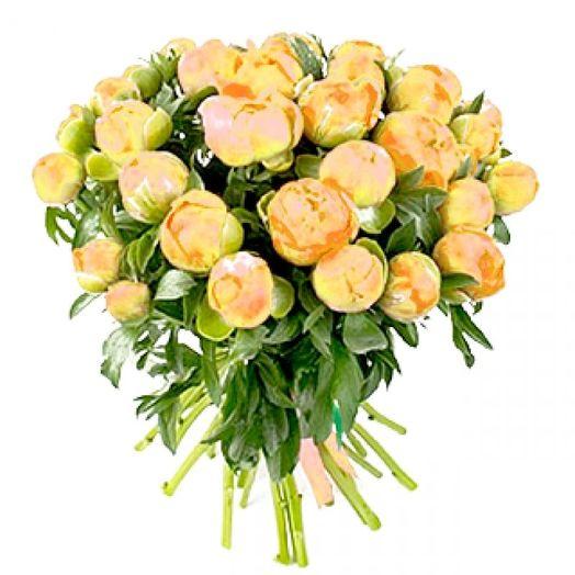 Букет из 25 желтых пионов: букеты цветов на заказ Flowwow