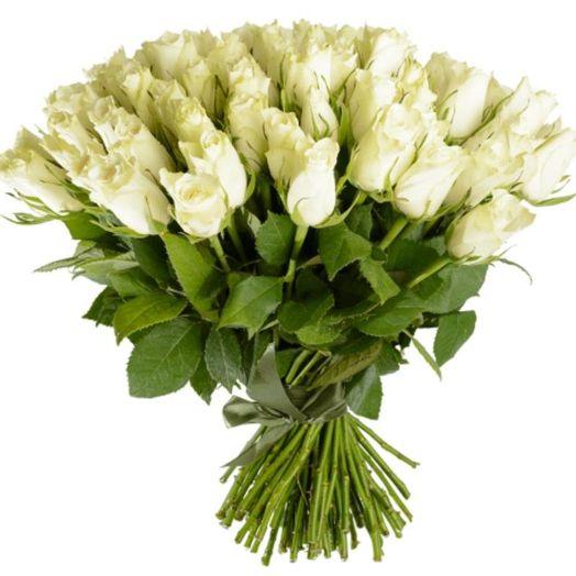 Букет из 151 белой кенийская роза: букеты цветов на заказ Flowwow