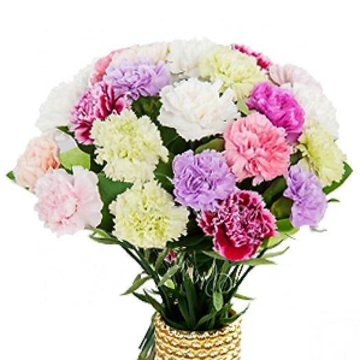 Букет из 25 разноцветных гвоздик: букеты цветов на заказ Flowwow