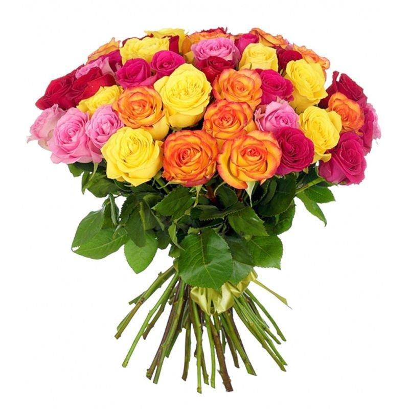 Букет из 31 разноцветной местной розы 60 см: букеты цветов на заказ Flowwow