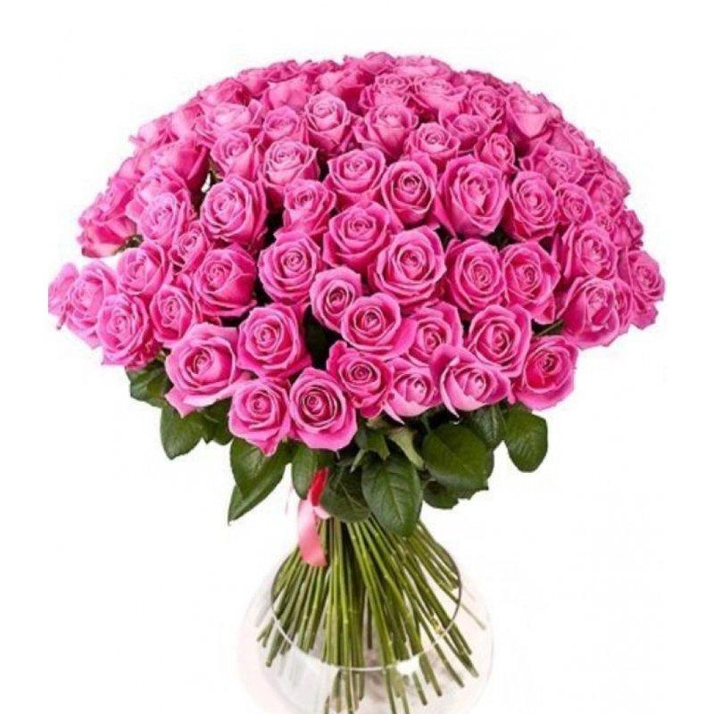 Букет из 101 розовой местной розы 80 см: букеты цветов на заказ Flowwow