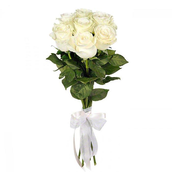 Букет из 7 белых роз 50 см: букеты цветов на заказ Flowwow