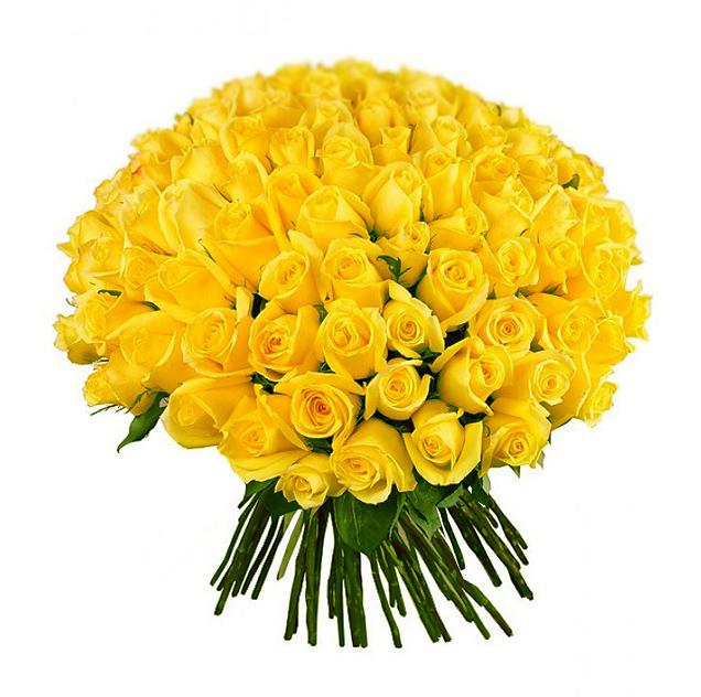Букет из 101 желтой местной розы 60 см: букеты цветов на заказ Flowwow
