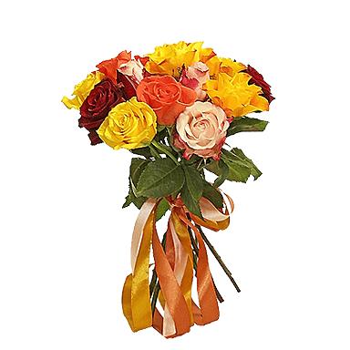 Букет из 7 разноцветных голландских роз 60 см: букеты цветов на заказ Flowwow