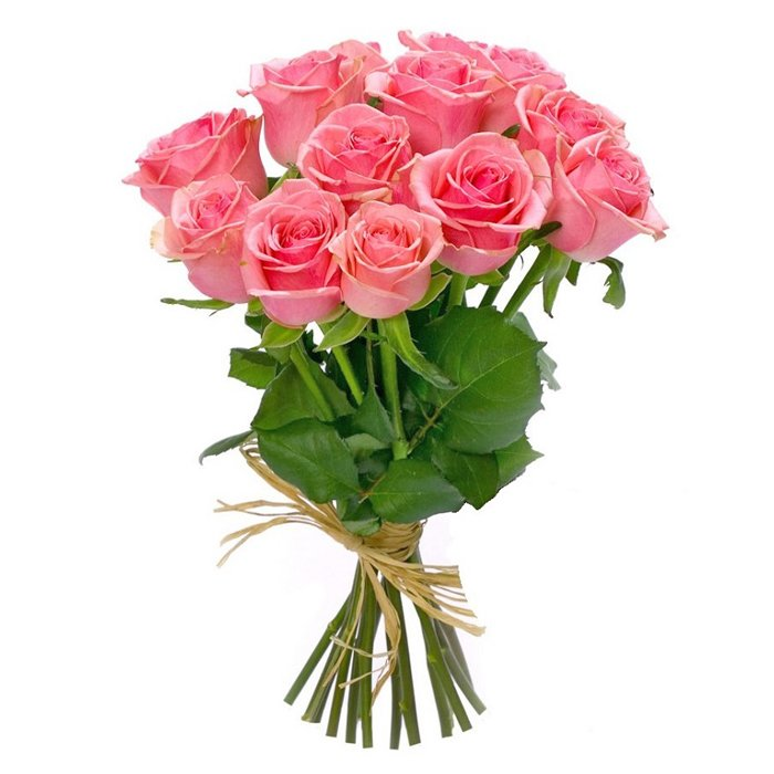 Букет из 11 розовых голландских роз 50 см: букеты цветов на заказ Flowwow