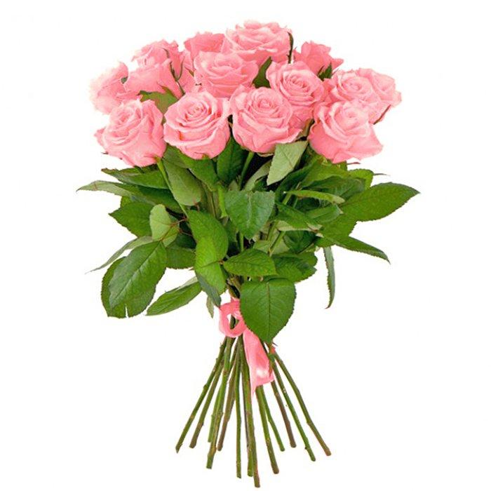 Букет из 13 розовых голландских роз 60 см: букеты цветов на заказ Flowwow