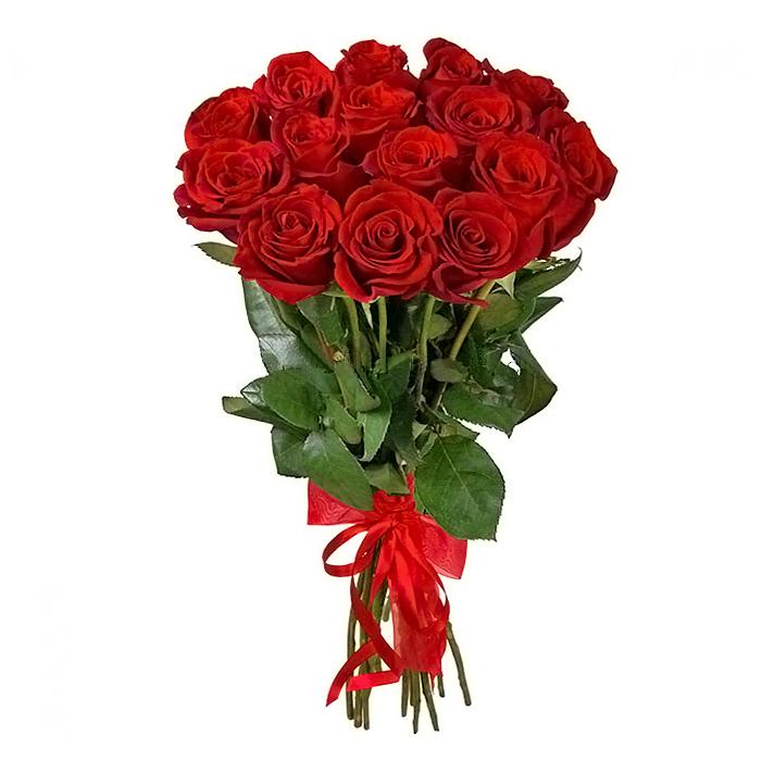 Букет из 15 красных голландских роз 60 см: букеты цветов на заказ Flowwow