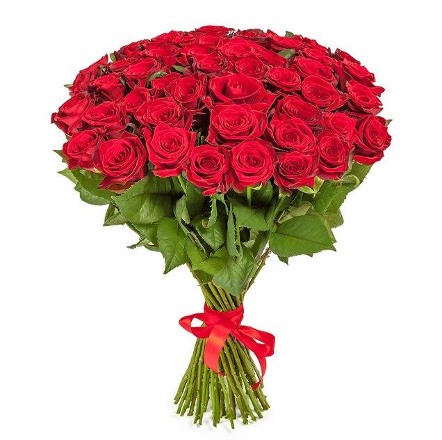 Букет из 50 красных голландских роз 50 см: букеты цветов на заказ Flowwow