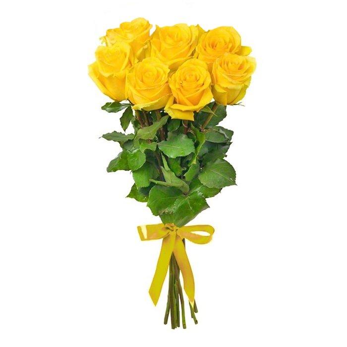 Букет из 9 желтых голландских роз 60 см: букеты цветов на заказ Flowwow