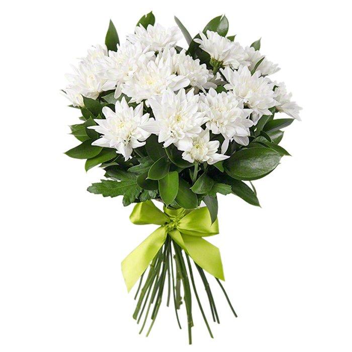 Букет из 11 белых хризантем: букеты цветов на заказ Flowwow