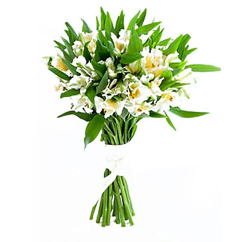 Букет из 10 белых альстромерий: букеты цветов на заказ Flowwow