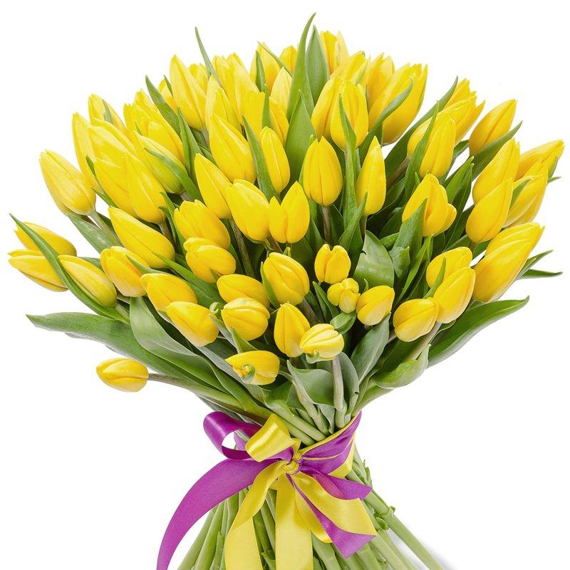 Букет из 101 желтого тюльпана: букеты цветов на заказ Flowwow